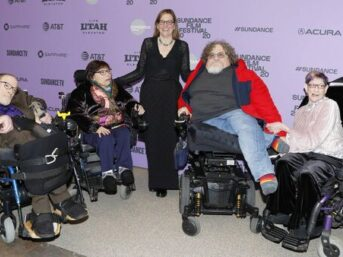 Neil Jacobson, Judith Heumann, director and producer Nicole Newnham, Jim LeBrecht, and Denise Jacobson at the premiere of 'Crip Camp' during the 2020 Sundance Film Festival, Utah.